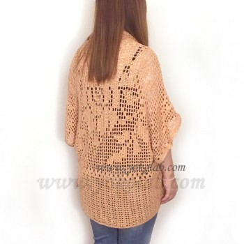 Antille 混紡棉線 Blanket Sweater #923 橙  L Size  [成品分享]